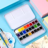 奥文固体水彩颜料24色36色透明固体水彩套装初学者绘画颜料鲁本斯水彩画成人写生便携铁盒水彩画插画固体颜料