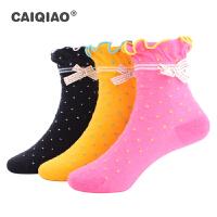【3双装】彩桥儿童袜子纯棉女童袜子2020秋冬季新款女童棉袜短袜