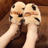 豆豆鞋加绒保暖乐福鞋毛毛鞋秋冬兔毛鞋女休闲鞋平底瓢鞋孕妇防滑