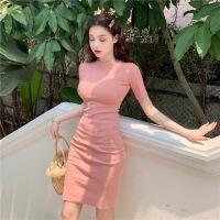 2019新款新品夏季时尚女装通勤紧身连衣裙纯色中长包臀一步裙 均码