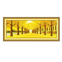 十字绣黄金满地2米3米全景印花线绣新款2018客厅风景
