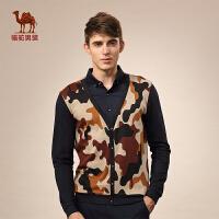 Camel/骆驼男装 新款假两件T恤 棉质衬衫领时尚商务长袖T恤男