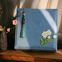 古典中式礼物文艺刺绣大首饰盒带锁化妆盒收纳盒