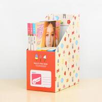 畸良卡通桌面收纳盒杂志书架A4文件收纳盒置物架 杂物收纳箱 大号文件收纳盒 -冰淇淋