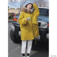 棉衣女冬季新款韩版加厚保暖宽松大毛领工装外套中长款学生棉袄潮