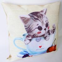 十字绣2018新款抱枕茶杯猫咪可爱儿童情侣卧室客厅靠垫一对枕刺绣