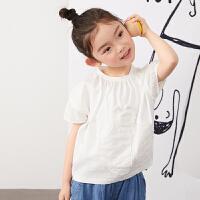 【1件秒杀价:136】马拉丁童装女大童T恤2020夏装新款抽褶设计白色圆领短袖T恤