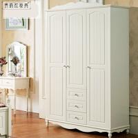 田园衣柜白色两门衣柜三门衣柜卧室四门柜储物柜 韩式衣柜 象牙白