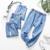 童装裤子女童春装款薄款夏季男童天丝牛仔裤儿童裤