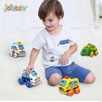 【每满100减50】jollybaby儿童益智玩具车男孩回力惯性小车1-2-3岁宝宝布艺大汽车
