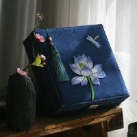 新中式东方文艺绣花带锁首饰盒化妆盒大收纳盒新婚礼物