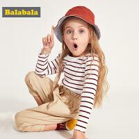 巴拉巴拉童装女童打底衫春季2019新款儿童长袖T恤小童宝宝条纹女