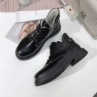 短靴女冬2018新款加绒马丁靴女英伦风学生韩版百搭平底短筒矮靴子