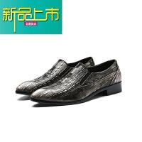 新品上市19春季新款英伦男士尖头皮鞋韩版英伦纹 夜店型师皮鞋