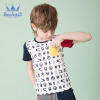 【3件3折:47.7元】souhait水孩儿童装夏季新款圆领衫儿童T恤男小童T恤短袖T恤撞色圆领衫SHNXBX09CT