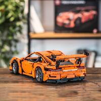 森宝兼容乐高积木科技系列保时捷911gt3rs跑车拼装模型男孩子遥控玩具