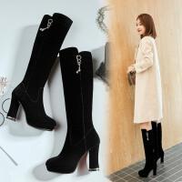 冬季新品高跟女士长靴2018欧美侧拉链加绒高筒靴子显瘦女靴 黑色