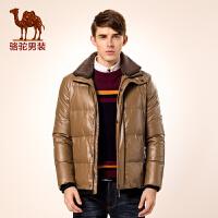 骆驼男装 新款秋季青年纯色双层领休闲青春流行外套羽绒服男