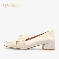 【 限时3折】哈森秋季漆皮方头中跟单鞋HL97152