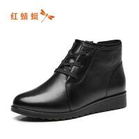红蜻蜓冬季棉鞋女防滑妈妈鞋真皮软底舒适平底保暖加绒皮鞋