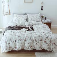 四件套全棉 纯棉三件床上用品简约现代少女心小清新单人被套风x定制