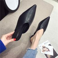 时尚休闲复古风女士拖鞋百搭尖头平底舒适春季新款女鞋