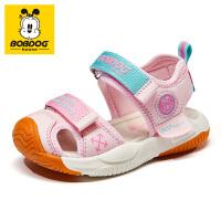 巴布豆童鞋2021夏季新款男童凉鞋软底包头小童宝宝女童儿童鞋子潮-樱花粉