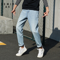 森马牛仔长裤男春季新款宽松锥形裤子纯棉透气青年复古老爹裤