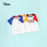 【99元3件】迪士尼宝宝快乐星球男童针织插肩短袖T恤夏季新品