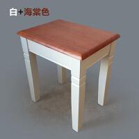美式复古凳 实木小方凳橡木凳白色田园地中海电脑桌书桌凳家用换鞋矮凳北欧