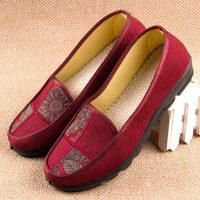 老北京布鞋女单鞋春秋透气妈妈鞋中老年人女鞋平跟浅口圆头
