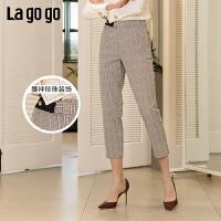 【5折价147】Lagogo2019春季新款复古格子裤哈伦裤九分裤高腰裤子女IAKK442M62