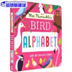 英文原版 Mrs. Peanuckle's Alphabet Library 彼勒芙夫人的鸟儿字母书 纸板书 儿童认知