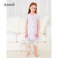 【2件4折价:107.6】安奈儿童装女童睡衣套装夏季2021新款透气薄款抑菌宝宝女孩家居服