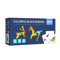 弥鹿(MiDeer)儿童益智玩具3-6岁创艺几何认知智力拼图-创艺木片拼图新年礼物
