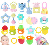 大奶瓶宝宝摇铃20件套装 新生儿手摇铃组合 婴儿玩具 0-1岁 粉色摇铃20件套