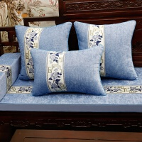 实木沙发垫带靠背中式红实木沙发垫套布艺中国风防滑坐垫组合套y +枕芯