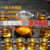 500ml花茶杯+8个小把杯企鹅煮茶壶耐热玻璃茶具加厚过滤花茶壶可加热养生泡茶壶