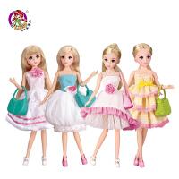 大礼盒女孩儿童玩具 仿真换装公主衣服过家家芭比娃娃套装