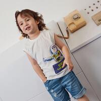 迷你巴拉巴拉男童纯棉印花背心2019夏装新款童装儿童薄款无袖上衣