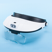 头戴式眼镜放大镜带灯高倍儿童老人阅读维修手机修表放大镜化妆美容珠宝鉴定放大镜昆虫观察器镜片便携