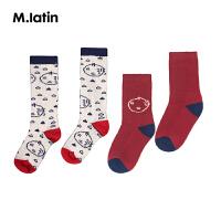 【6折价:41.4元】马拉丁童装男女童长筒袜秋冬新款趣味图案撞色儿童袜子两双装