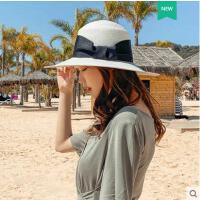 网红同款时尚新品防晒遮阳草帽男女士通用英伦风白色礼帽休闲出游海边度假帽子