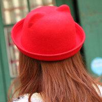 连体猫耳朵羊毛呢子帽卷边圆顶小礼帽搞怪恶魔女帽