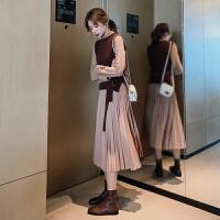 【品牌清�}】2020秋冬季�杉�套�b�L袖�B衣裙新款女�b收腰�@瘦�赓|�L款百褶裙子