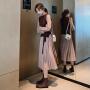 【爆款力荐】2020秋冬季两件套装长袖连衣裙新款女装收腰显瘦气质长款百褶裙子