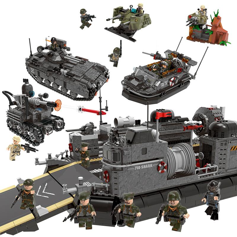 兼容乐高军事系列穿越战场坦克装甲火炮飞机模型立体拼装拼插益智男孩子儿童玩具7-10岁12