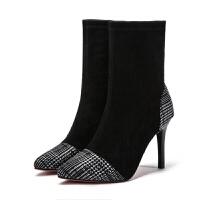 袜子靴女2018新款高跟短靴女细跟尖头女靴时尚休闲短筒靴 黑色