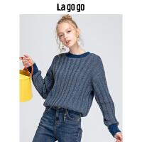 Lagogo/拉谷谷2019新款简约复古针织衫女HCMM46YM27