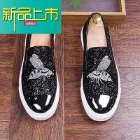 新品上市潮流男鞋亮皮刺绣鞋一脚蹬懒人社会鞋青年个性板鞋型师板鞋 黑色